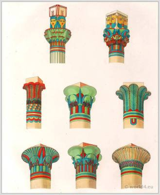 Column capital of Philae. Ancient Egypt decorations, arts and architecture. Egyptian Temple of the Goddess Isis.