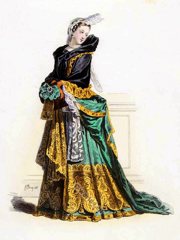 France nobel lady in scarf louis xiv period 1682 for Baroque design clothes