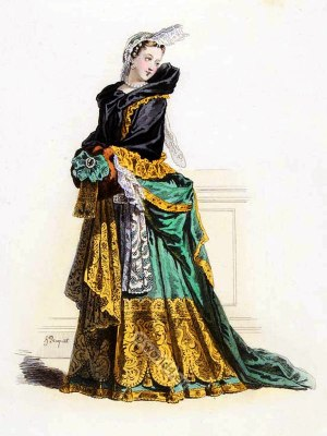 France baroque costume. 17th Century clothing. Louis XIV fashion. French national costume