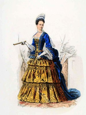 La Duchesse d´Orléans. Baroque costumes. 17th Century clothing. Louis XIV fashion. Court Dress in Versailles