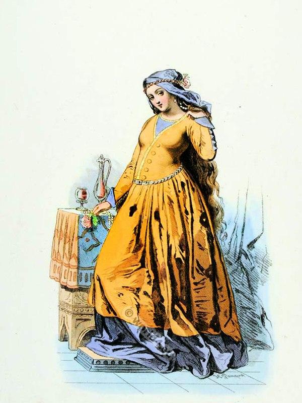 French Courtisane costume. Modes et Costumes Historiques. Renaissance clothing. France Medieval fashion