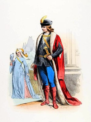 French Baron, Baroness costume. Renaissance clothing. Feudalism, Medieval fashion.
