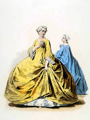 French Dame de Paris in Rococo gown. 18th century clothing. Louis XV Ancien Régime fashion.