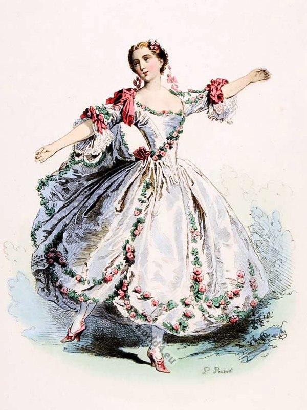 Melle Camargo. Famous France Parisian ballet dancer, Rococo dance costume, 18th century.