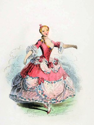 Marie Sallé. French Ballet Danseuse in 1730. Rococo fashion. 18th century costumes.