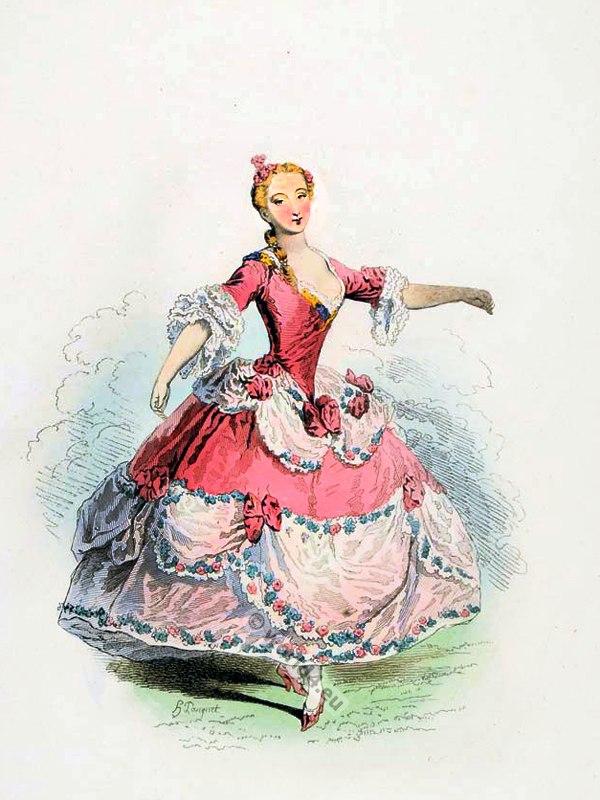 Marie Sallé, French Ballet Danseuse. Parisian Opera Dancer. Rococo fashion. Louis XV. Ancien Régime.