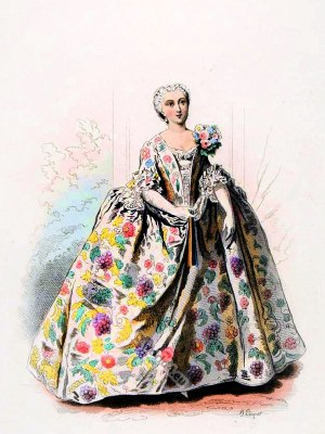 farthingale, Mode de Paris, Règne de Louis XV. d´après Nicolas Lancret 1740. France Ancien Régime fashion. French Rococo costumes. Hoop skirt, Farthingale. Le Pouf.