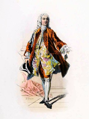 French Marquis in Rococo costume. France18th century clothing. Louis XV Ancien Régime fashion. Court Dress in Versailles. Allonge wig