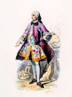 Paris Fashion Nobleman Rococo costume. France 18th century clothing. Louis XV Ancien Régime fashion. Court Dress in Versailles