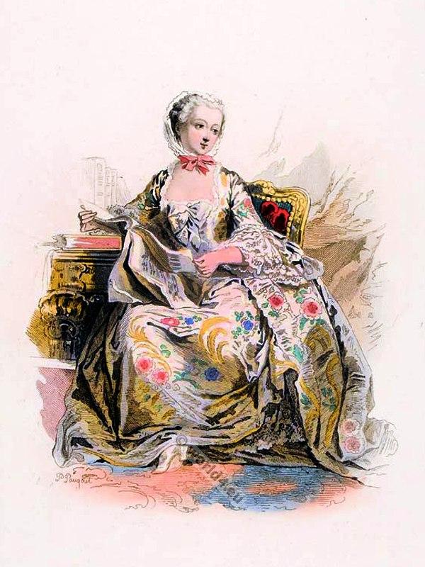 Marquise, Madame de Pompadour. Rococo fashion. 18th century clothing. Mistress Louis XV. Court Dress. Versailles