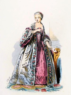 Comtesse du Barry French Rococo costume. France 18th century clothing. Louis XV Ancien Régime fashion. Court Dress in Versailles