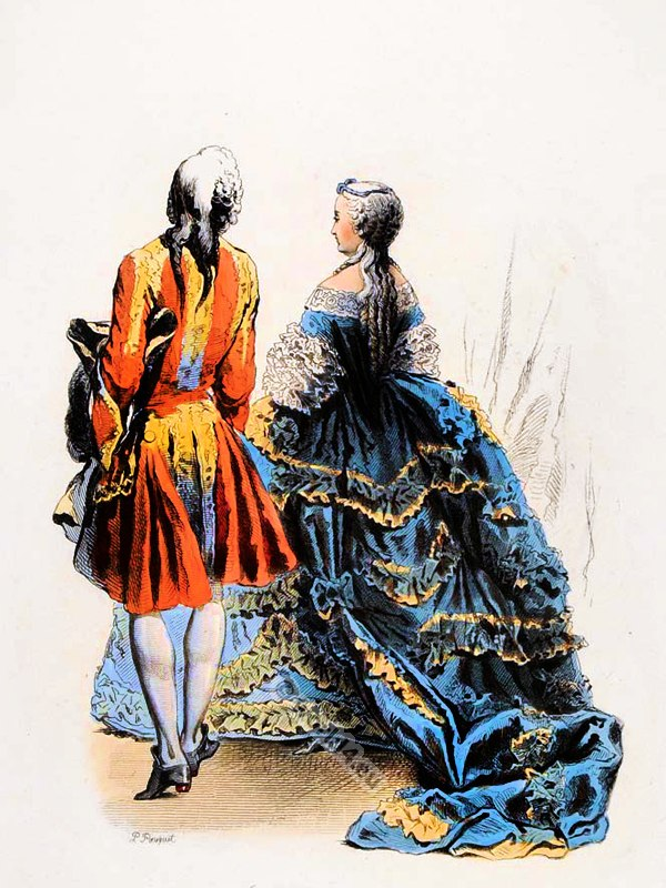 French Rococo costume history. Costumes De Cour. louis XV. fashion. 18th century dress.