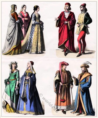 Medieval nobilty costumes. Gothic fashion. Middle ages clothing. Burgundian costumes.
