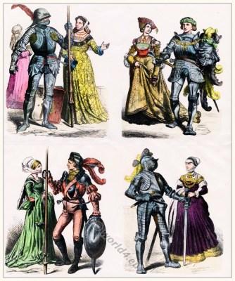 German knights, nobel women costumes. Medieval dresses. Renaissance clothing. Burgundian fashion.