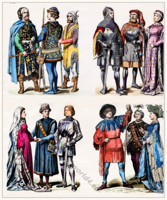 German fashion in the XV. century. Medieval Clothing. Burgundian costumes. Court of the Duchy of Burgundy