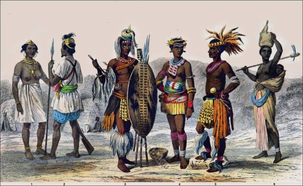 Traditional South Africa national costumes. African Zulu clothing. Senegambian tribes