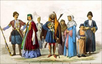 Costumes of Georgian, Circassian and Armenian Races. Armenian National costumes. Georgian dress, Traditional Circassian clothing