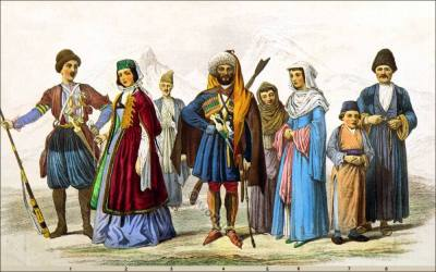 Costumes of Georgian, Circassian and Armenian Races. Armenian National costumes. Georgian dress, Traditional Circassian clothing