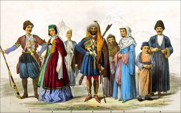 National costumes. Armenian, Georgian, Circassian clothing