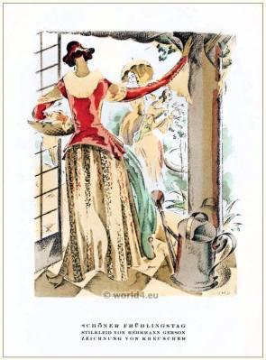 Style dress. STYL Art Déco Fashion Magazine. German Art deco costumes 1920s. Roaring twenties fashion. Gibson Girls clothing.