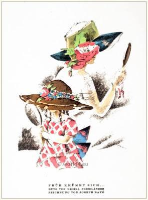 Hats by Regina Friedender. STYL Art Déco Fashion Magazine. German Art deco costumes 1920s. Roaring twenties fashion. Gibson Girls clothing.