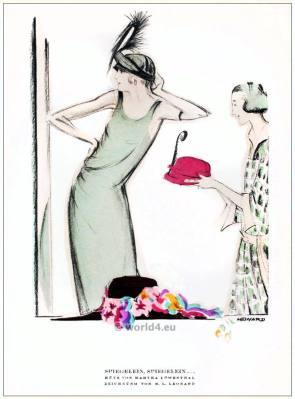 Hats from Martha Loewenthal. STYL Art Déco Fashion Magazine. German Art deco costumes 1920s. Roaring twenties fashion. Gibson Girls clothing.