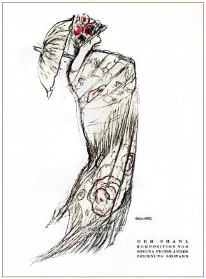 The Shawl. STYL Art Déco Fashion Magazine. German Art deco costumes 1920s. Roaring twenties fashion. Gibson Girls clothing.