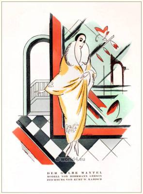 Yellow coat. STYL Art Déco Fashion Magazine. German Art deco costumes 1920s. Roaring twenties fashion. Gibson Girls clothing.