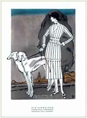 Costume by A. C. Steinhart. STYL Art Déco Fashion Magazine. German Art deco costumes 1920s. Roaring twenties fashion. Gibson Girls clothing.