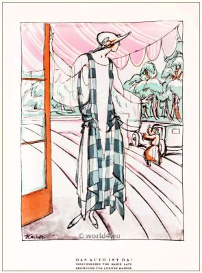 Visit dress by Marie Latz. STYL, Art Déco Fashion Magazine. German Art deco costumes 1920s. Roaring twenties fashion. Gibson Girls clothing.