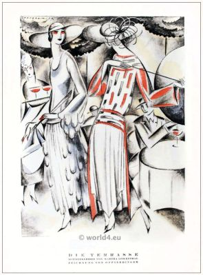 Summer dresses from Martha Loewenthal. STYL, Art Déco Fashion Magazine. German Art deco costumes 1920s. Roaring twenties fashion. Gibson Girls clothing.