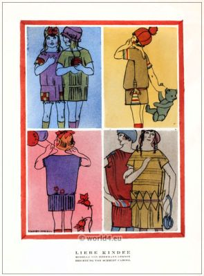 Children Dresses by Herrmann Gerson. STYL, Art Déco Fashion Magazine. German Art deco costumes 1920s. Roaring twenties fashion. Gibson Girls clothing.