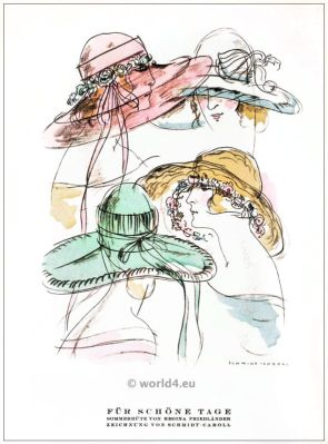Summer hats by Regina Friedender. STYL, Art Déco Fashion Magazine. German Art deco costumes 1920s. Roaring twenties fashion. Gibson Girls clothing.