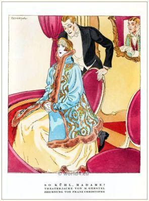 Theatre jacket by M. Gerstel. STYL, Art Déco Fashion Magazine. German Art deco costumes 1920s. Roaring twenties fashion. Gibson Girls clothing.