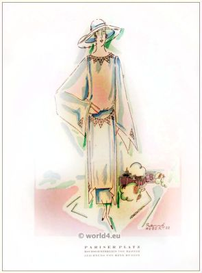 High summer dress. STYL, Art Déco Fashion Magazine. German Art deco costumes 1920s. Roaring twenties fashion. Gibson Girls clothing.