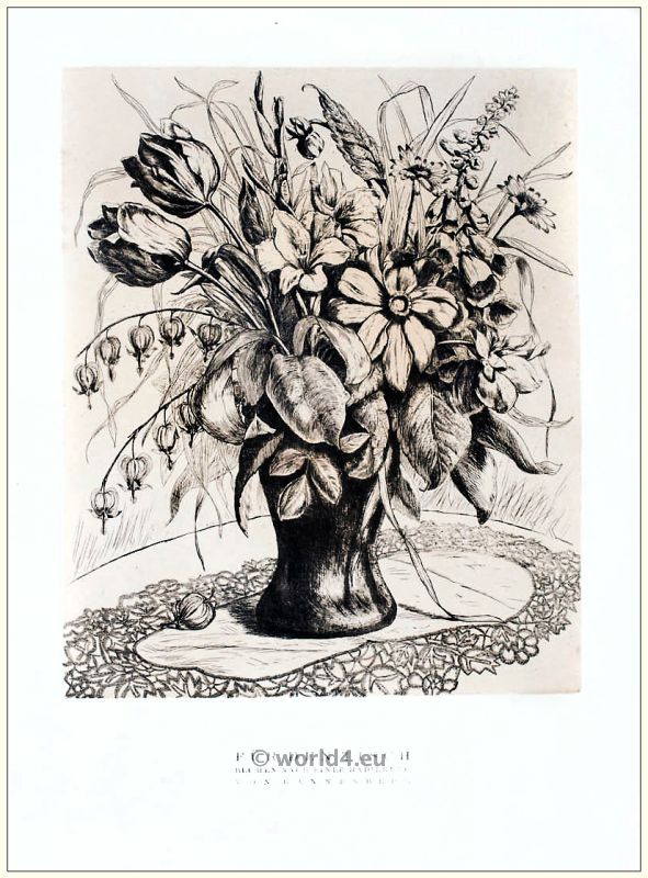 Art deco Flowers to an etching of Tannenberg. STYL, Art Déco Fashion Magazine.