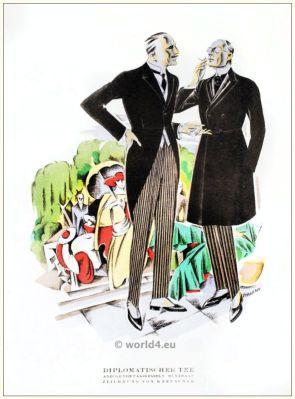 Suits of Fasskessel and Müntmann. STYL, Art Déco Fashion Magazine. German Art deco costumes 1920s. Roaring twenties fashion. Gibson Girls clothing.