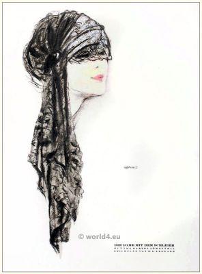Art deco Hat by Martha Loewenthal. STYL, Art Déco Fashion Magazine. Roaring twenties fashion. Gibson Girls clothing.