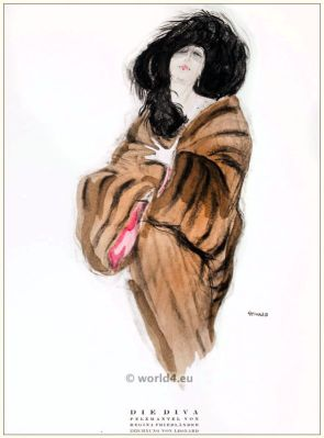 Art deco Fur coat by Regina Friedender. STYL, Art Déco Fashion Magazine. Roaring twenties fashion. Gibson Girls clothing.
