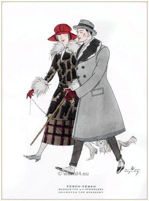 Art deco costume models by A. C. Steinhart. STYL, Art Déco Fashion Magazine. Roaring twenties fashion. Gibson Girls clothing.