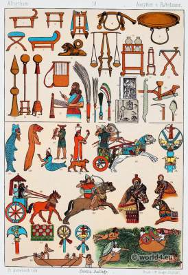 Babylonians and Assyrians weapons and furnitures. Babylonian, Assyrian Clothing