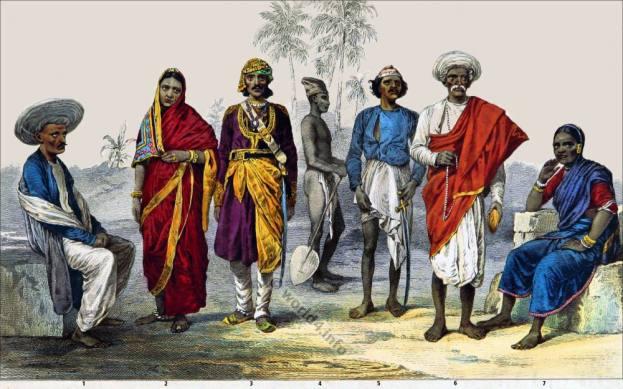 India hindu costumes. Coolie clothing. Brahmin costume. Kamathi dress. Baishnoo of Allahabad