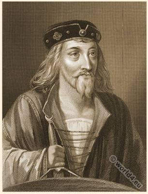 King James from England. Son of Mary Stuart. English Crown. Tudor fashion era