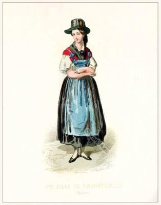German Mark Brandenburg folk dress. Traditional German national costume. Deutsche Trachten und Dirndl.