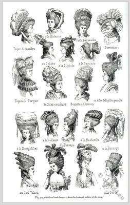 French women's hairstyle and headdresses 18th century fashion. Hairstyle Marie Antoinette. French rococo costumes.