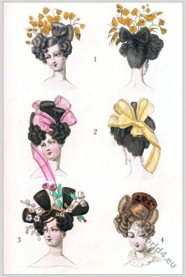 Modes Parisienes. Restoration Hairstyles. Biedermeier Fashion. Romantic Hairstyles. Regency modes.