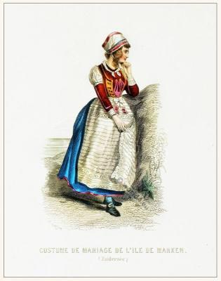 Holland Zuiderzèe Marken wedding costume. Traditional Dutch national  clothing. Netherlands folk dress