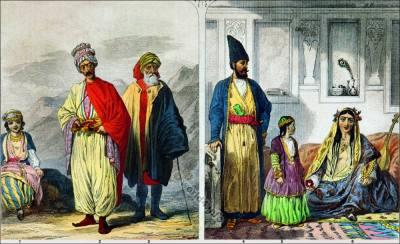 Kurds and Persians costumes. Kurd Priest clothing. Persian Lady and Girl of Teheran. Plain of Ararat