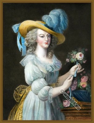 Queen Marie Antoinette. France Hat styles. French Rococo Costumes.