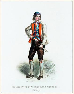 Inhabitant Norwegian dress. Traditional Norway National costume.